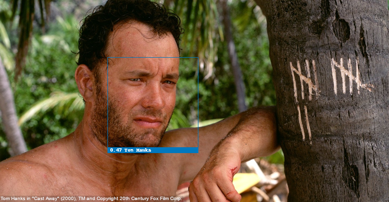 Face recognition test with Tom Hanks, recognized correctly
