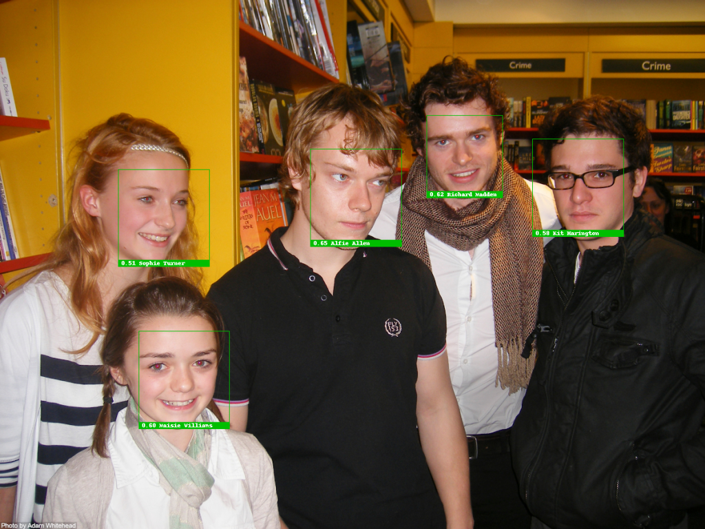 Face recognition test with Sophie Turner, Maisie Wiliams, Alfie Allen, Richard Madden, Kit Harington from 2009, recognized correctly