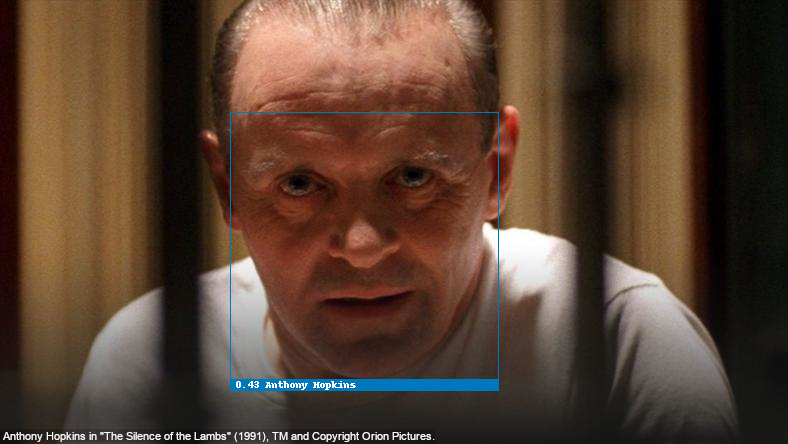 Face recognition test with Anthony Hopkins as Hannibal Lecter of The Silence of the Lambs (1991), recognized correctly