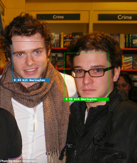 Face recognition test with Richard Madden and Kit Harington from 2009, Madden recognized incorrectly due to missing data